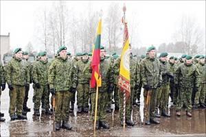 Iškilminga bataliono rikiuotė.