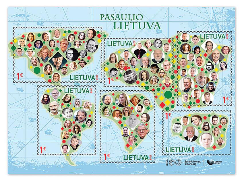 100 žmonių įamžinti proginiuose pašto ženkluose